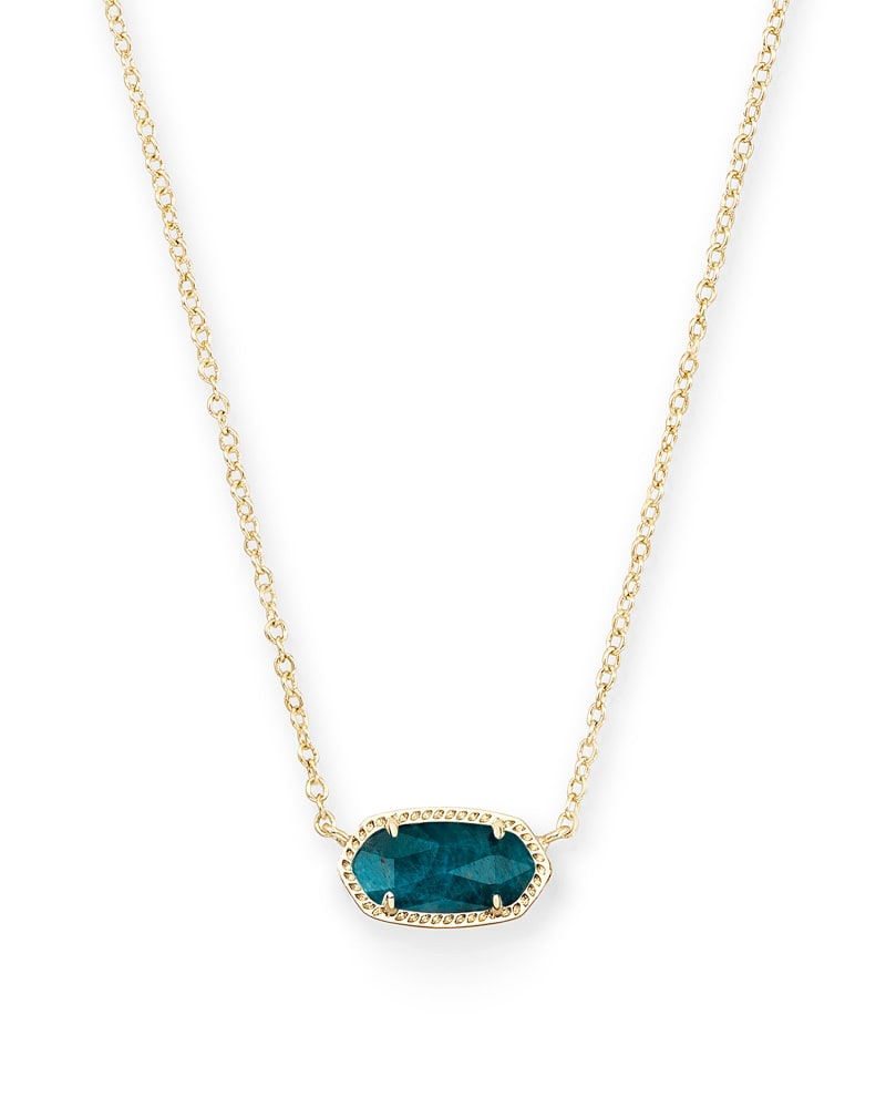 Elisa Gold Pendant Necklace in Aqua Apatite