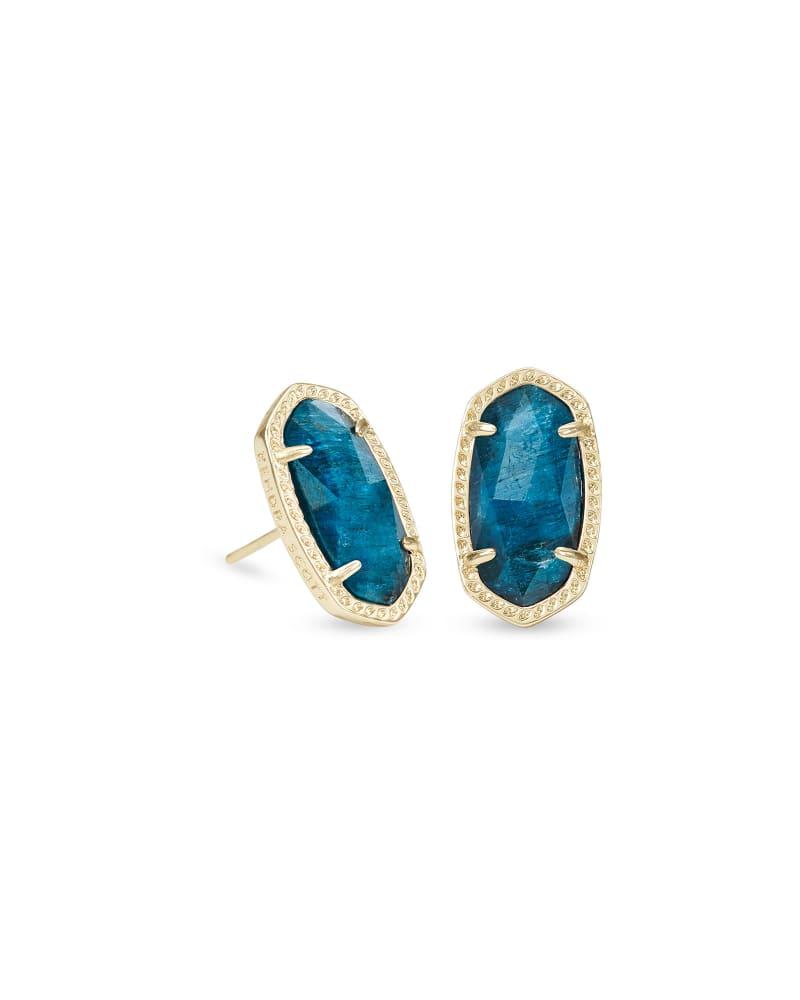 Ellie Gold Stud Earrings in Aqua Apatite