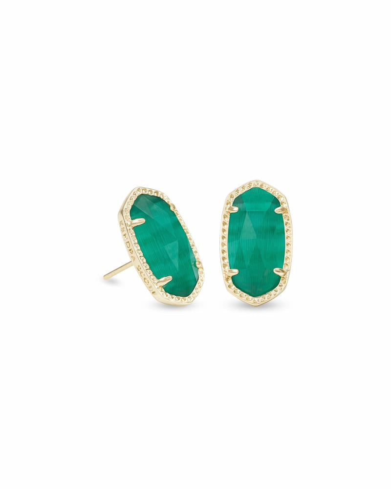 Ellie Gold Stud Earrings in Emerald Cat's Eye