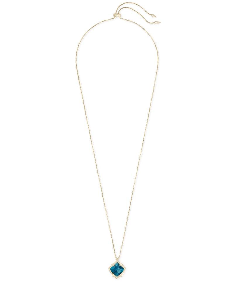 Kacey Gold Long Pendant Necklace in Aqua Apatite