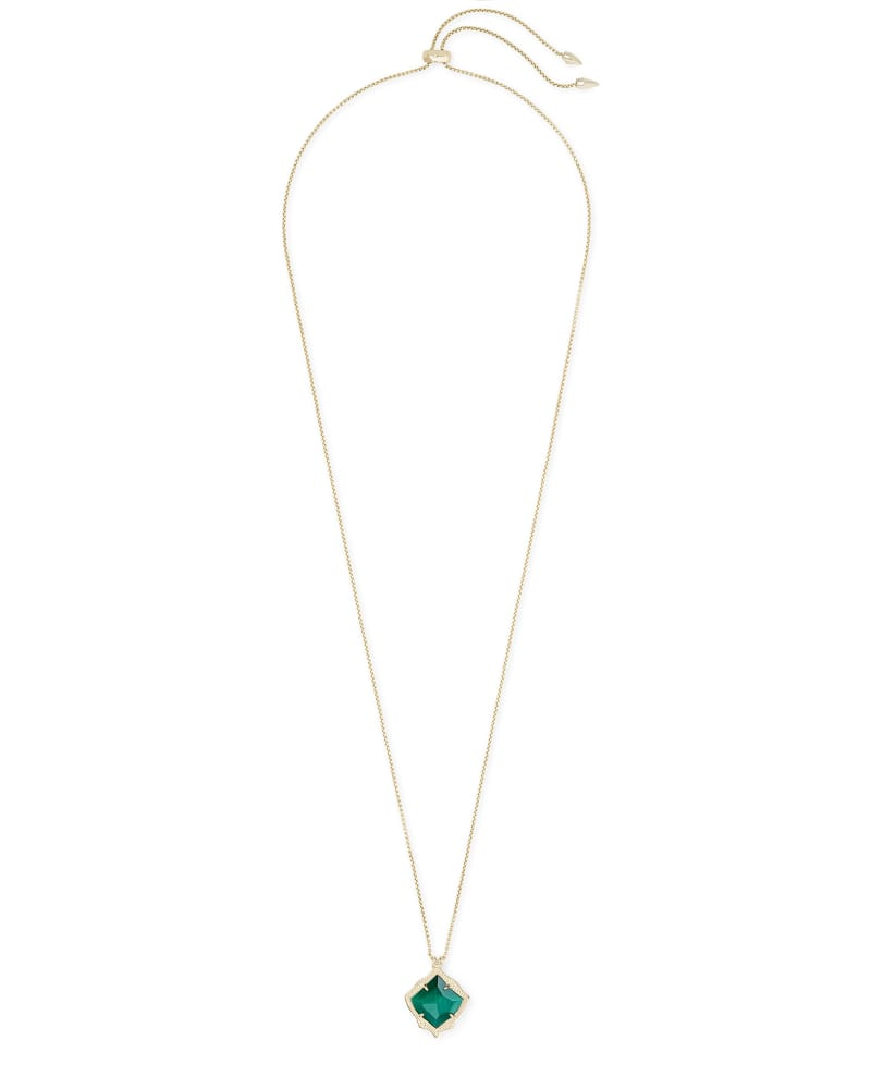Kacey Gold Long Pendant Necklace in Emerald Cat's Eye