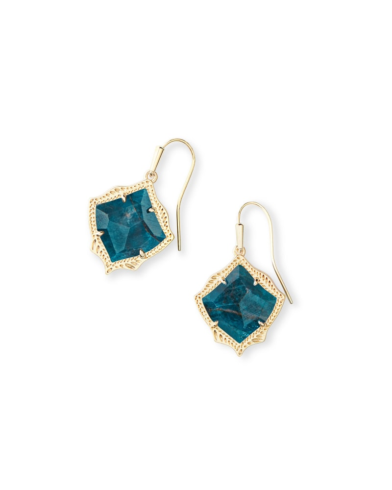 Kyrie Gold Drop Earrings in Aqua Apatite