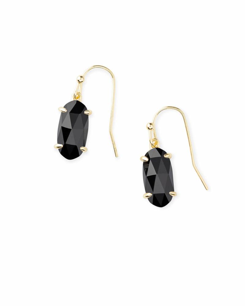 Lemmi Gold Drop Earrings in Black Glass
