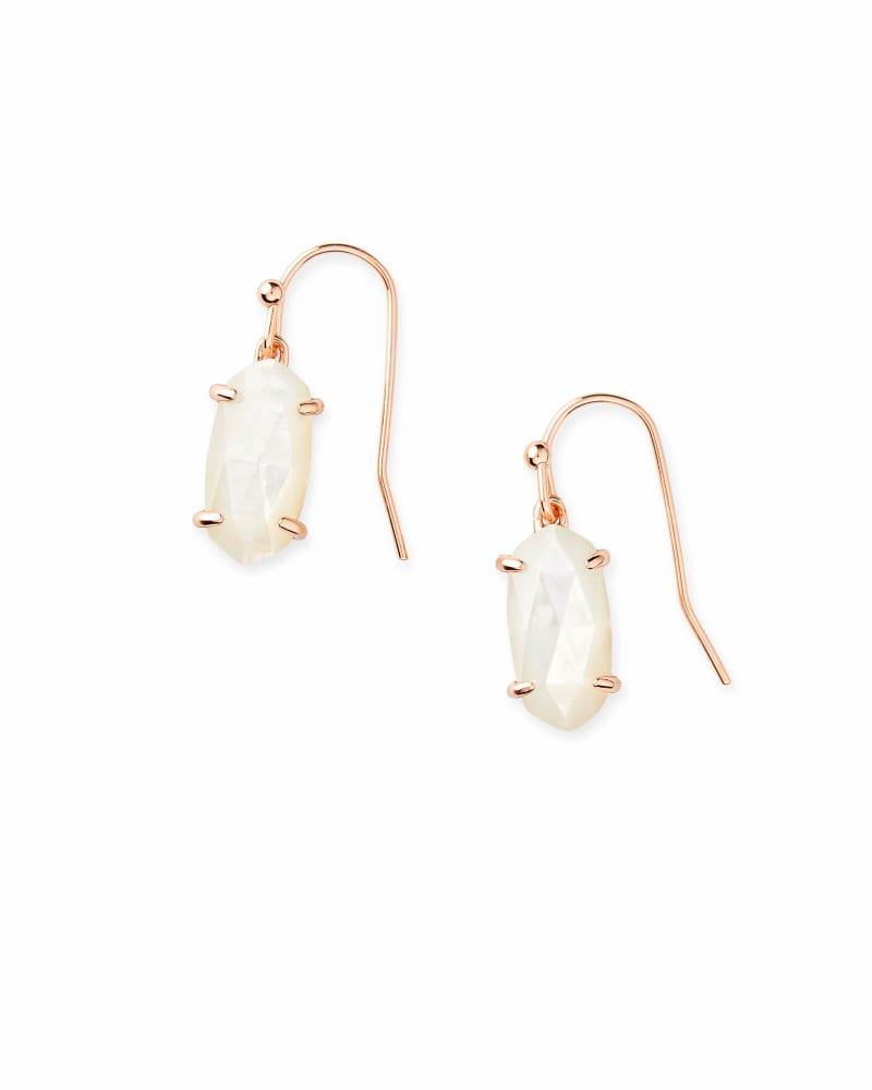 Lemmi Rose Gold Drop Earrings in Ivory Pearl