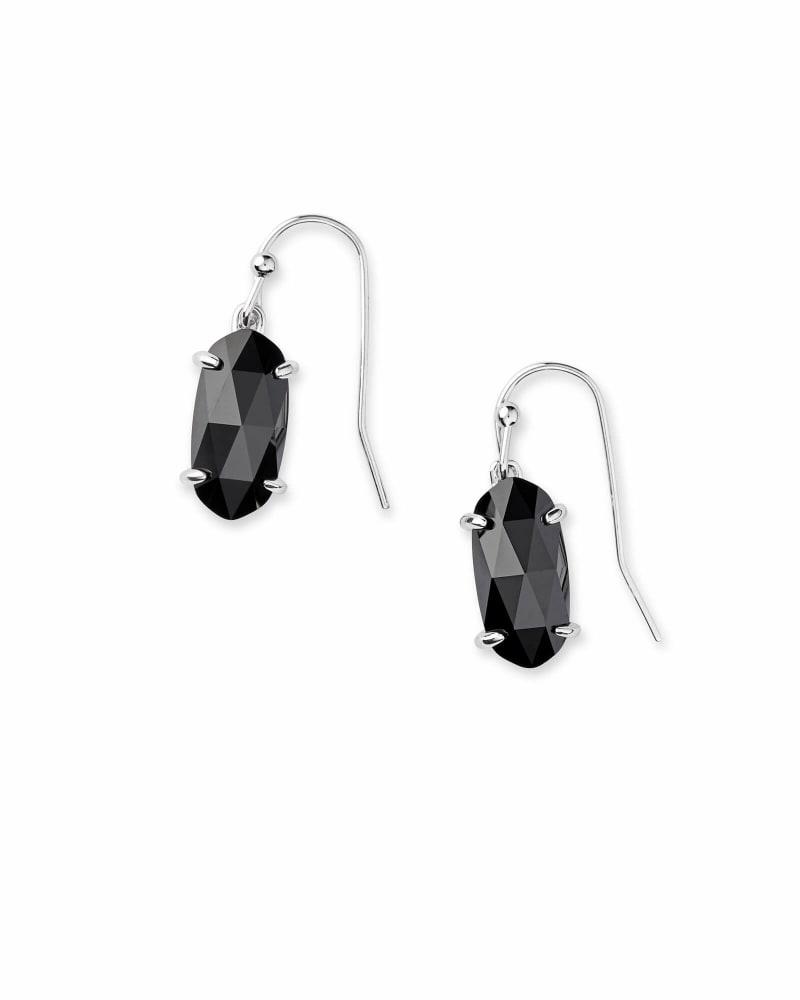Lemmi Silver Drop Earrings in Black Glass