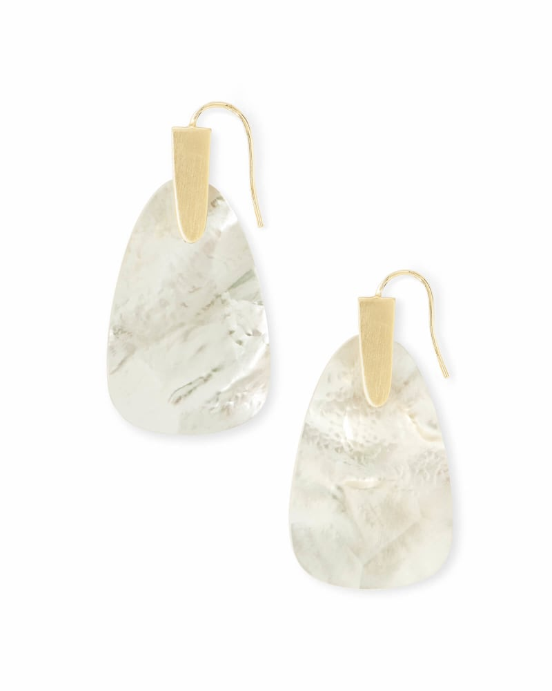 Marty Gold Drop Earrings in Ivory Pearl
