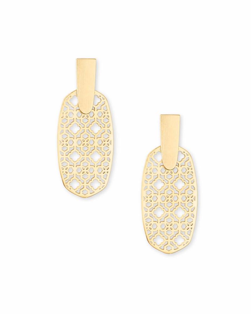 Aragon Gold Drop Earrings in Gold Filigree