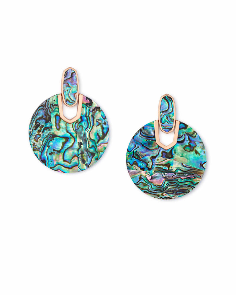 Didi Rose Gold Statement Earrings in Abalone Shell