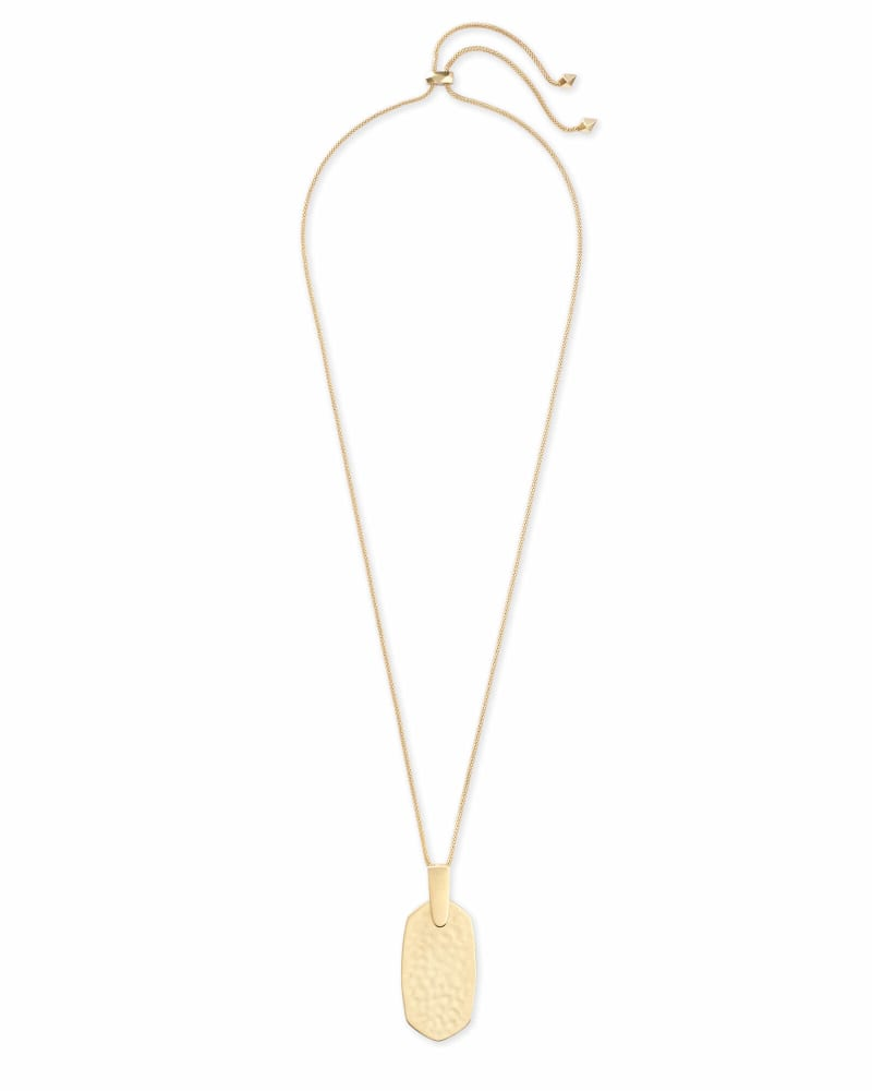 Inez Hammered Long Pendant Necklace in Gold