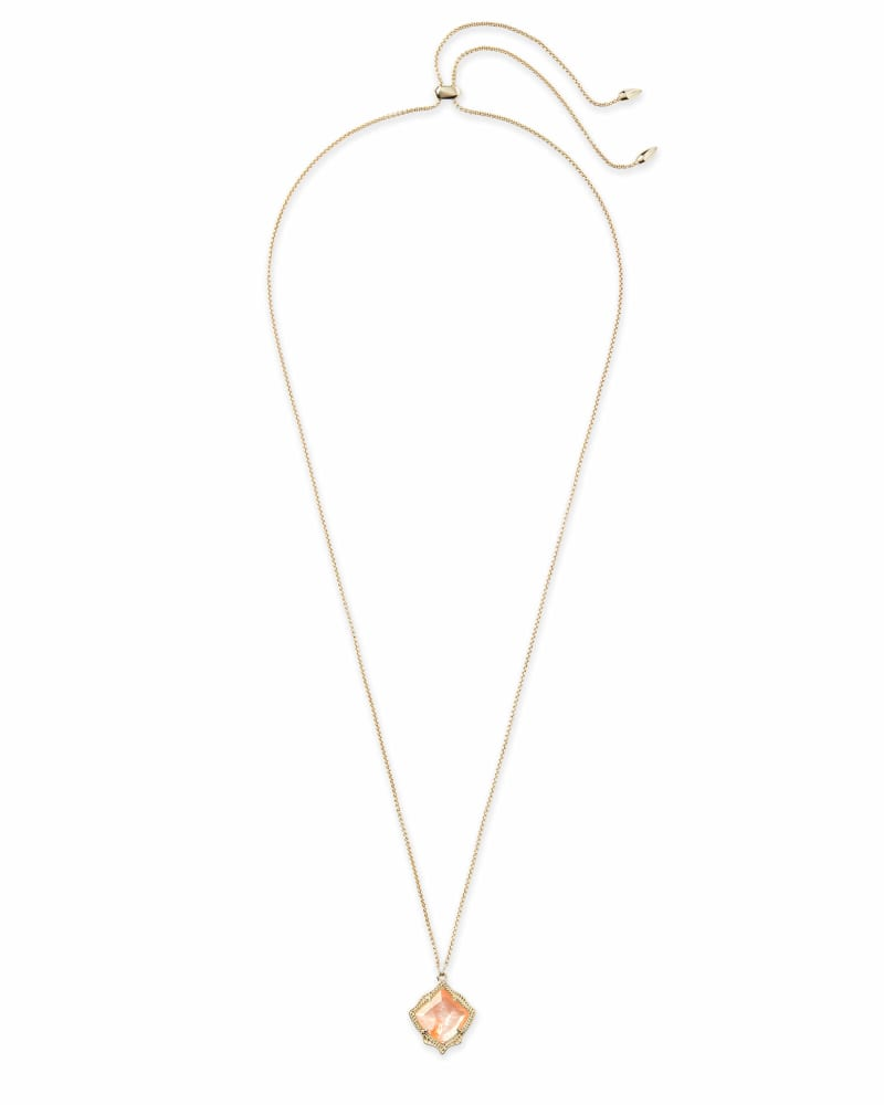 Kacey Gold Long Pendant Necklace in Peach Pearl