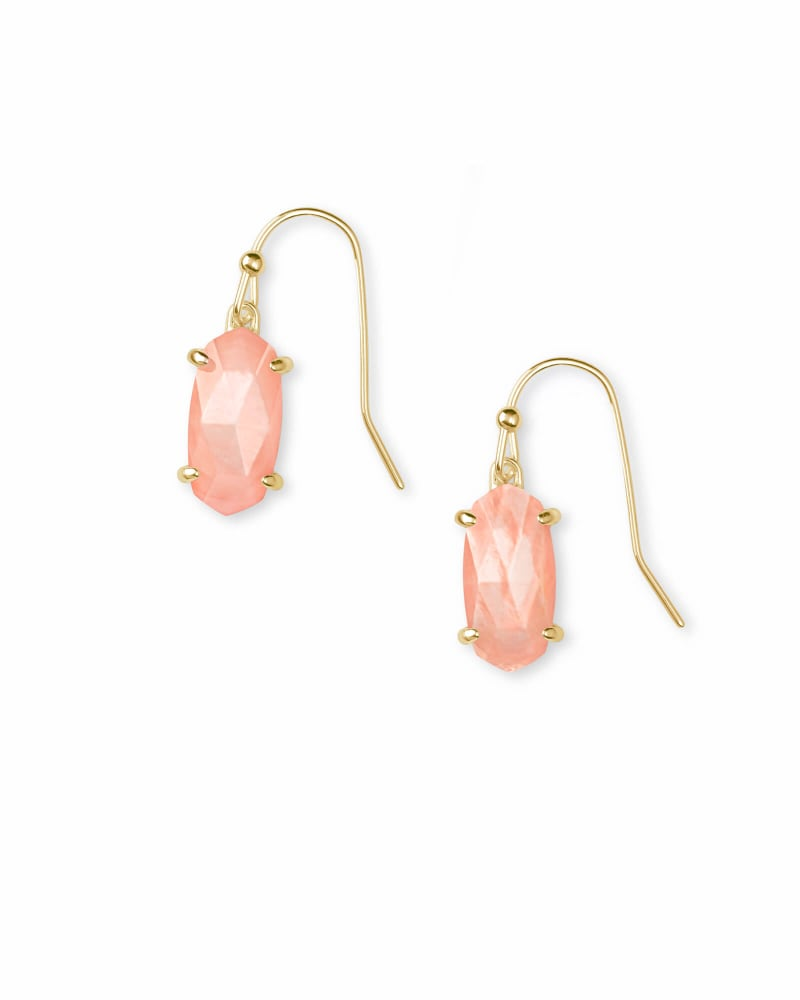 Lemmi Gold Drop Earrings in Peach Pearl
