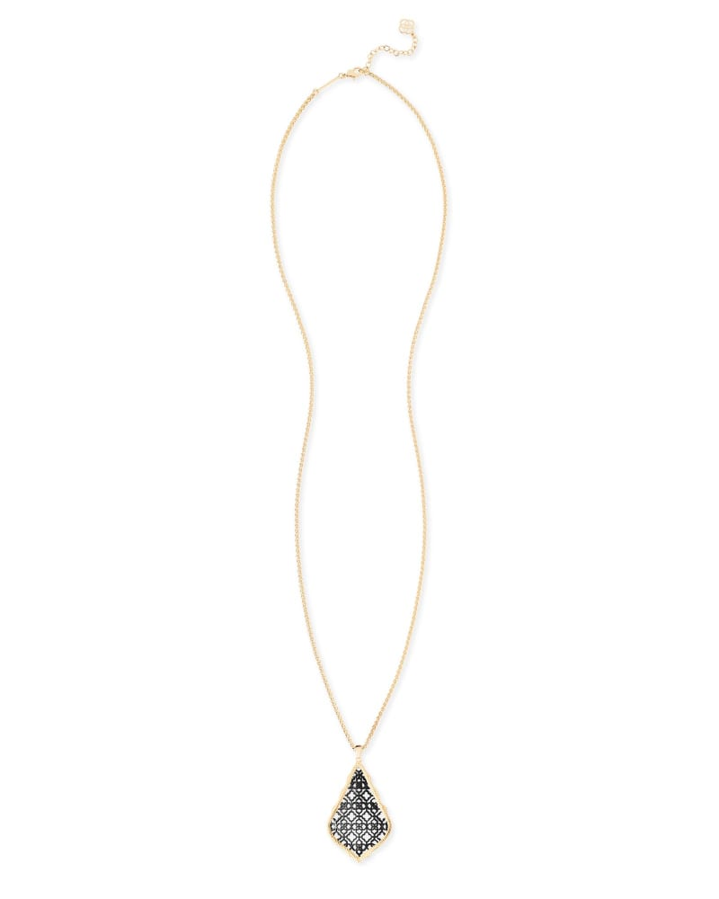 Aiden Gold Long Pendant Necklace in Gunmetal Filigree