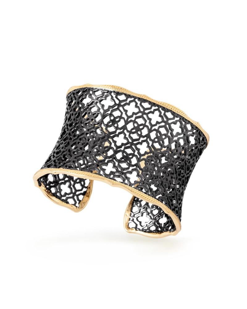 Candice Gold Cuff Bracelet in Gunmetal Filigree
