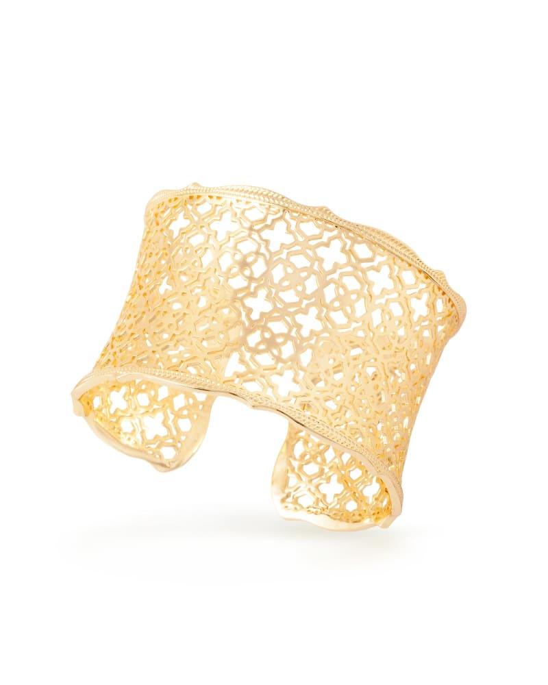 Candice Gold Cuff Bracelet in Gold Filigree Mix