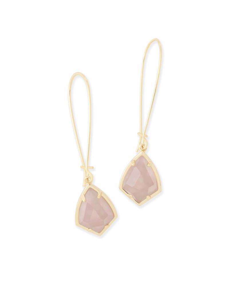 Carinne Drop Earrings in Rose Quartz
