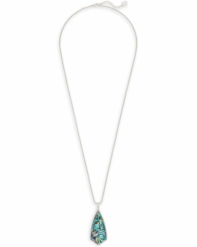Carole Silver Long Pendant Necklace in Abalone Shell