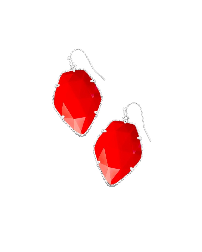 Corley Silver Drop Earrings in Bright Red