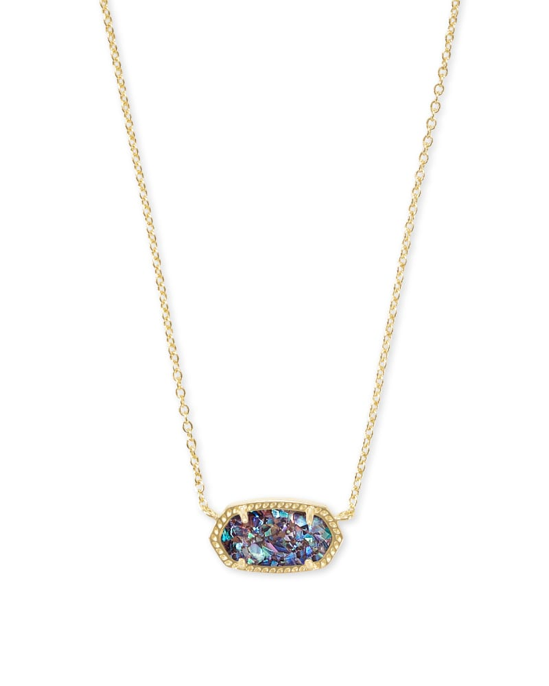 Elisa Gold Pendant Necklace in Crushed Purple Abalone
