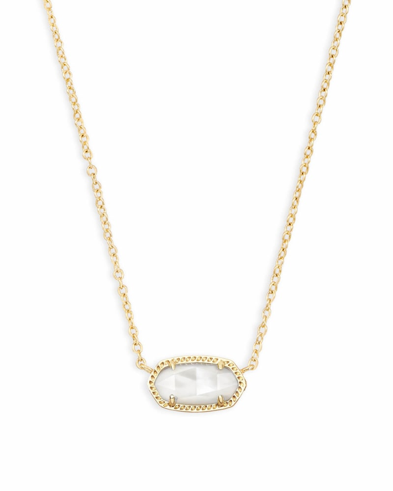 Elisa Gold Extended Length Pendant Necklace in Ivory Mother-of-Pearl