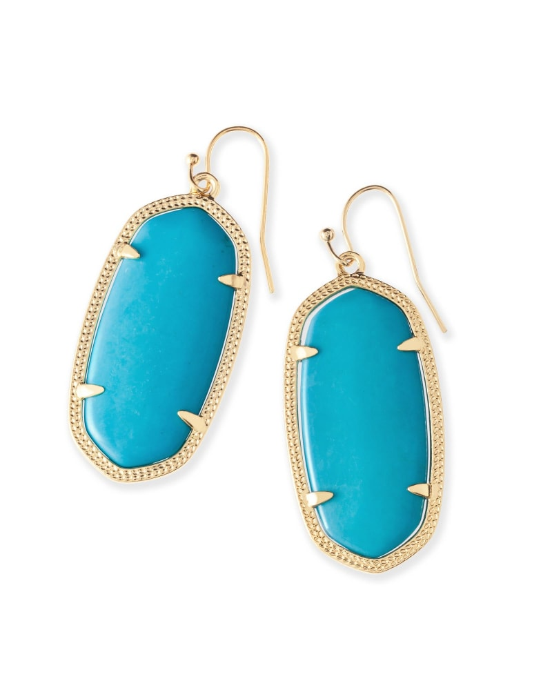 Elle Gold Drop Earrings in Turquoise