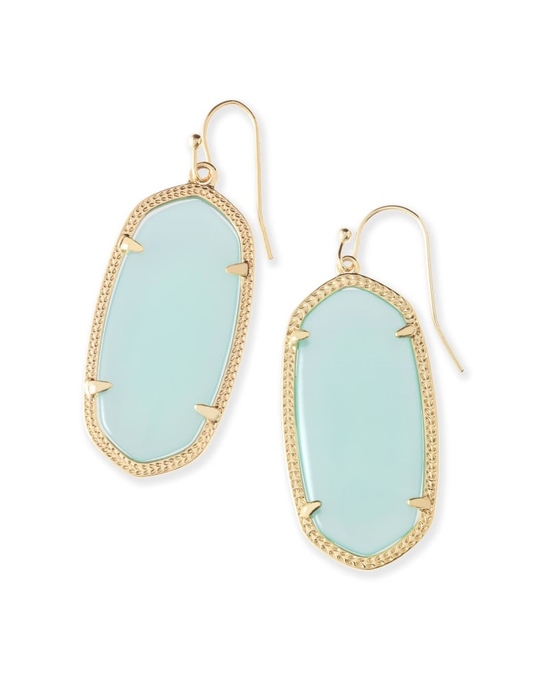 Elle Gold Drop Earrings in Chalcedony Glass