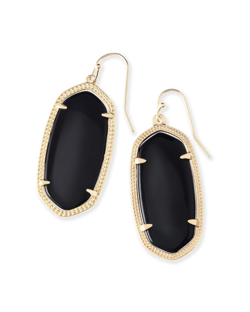 Elle Gold Drop Earrings in Black Opaque Glass