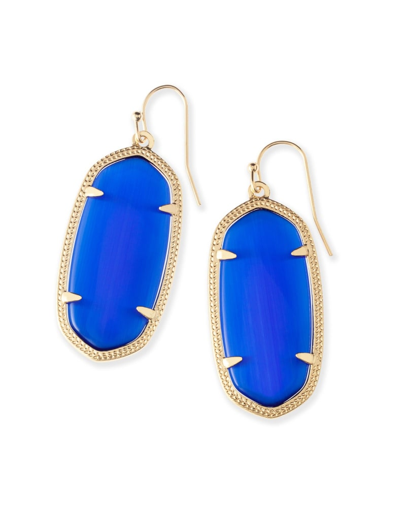 Elle Gold Drop Earrings in Cobalt