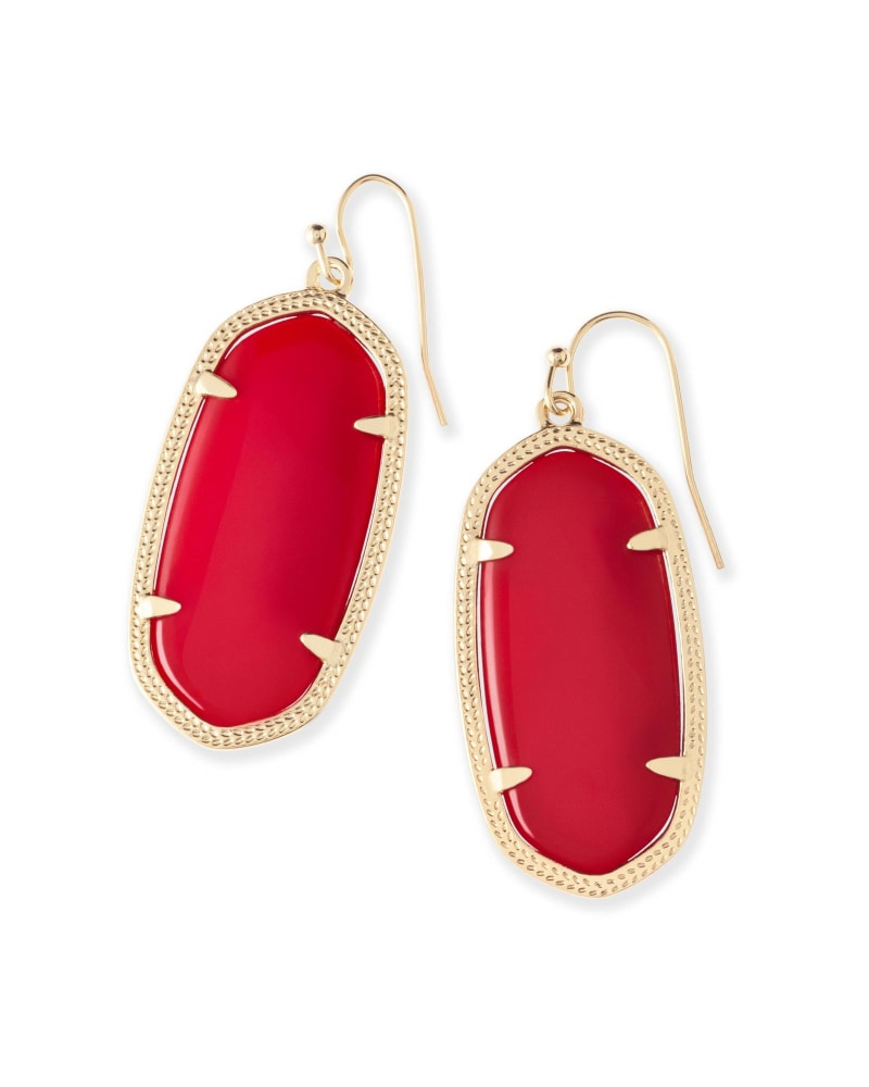 Elle Gold Drop Earrings in Bright Red Opaque Glass