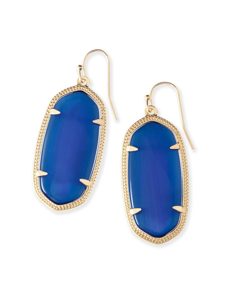 Elle Gold Drop Earrings in Navy Cat's Eye