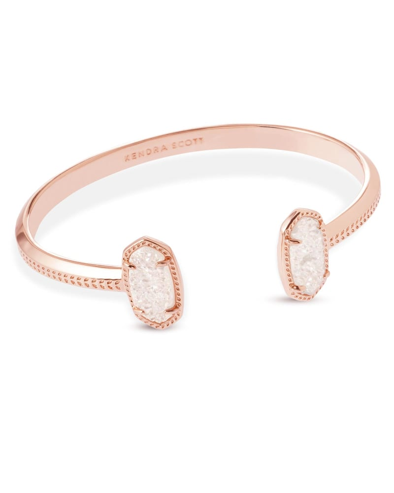 Elton Rose Gold Cuff Bracelet in Iridescent Drusy