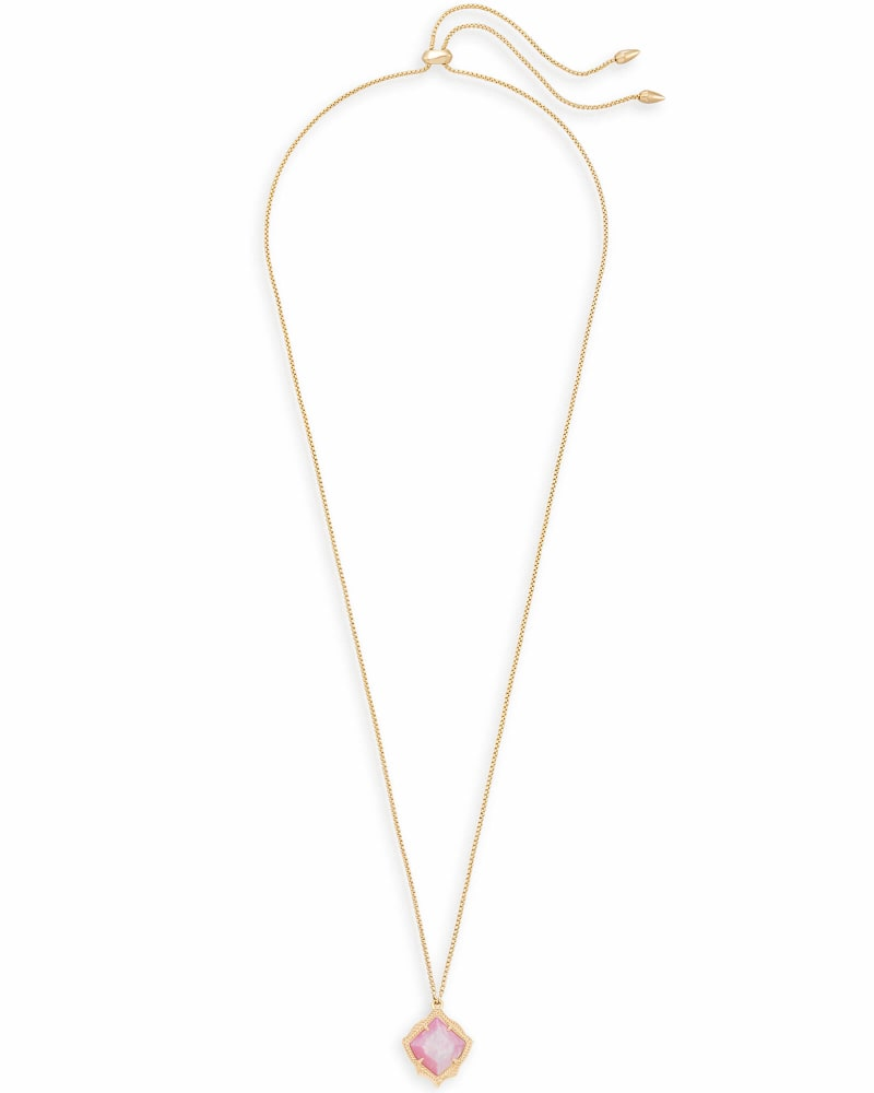 Kacey Long Pendant Necklace in Blush Pearl