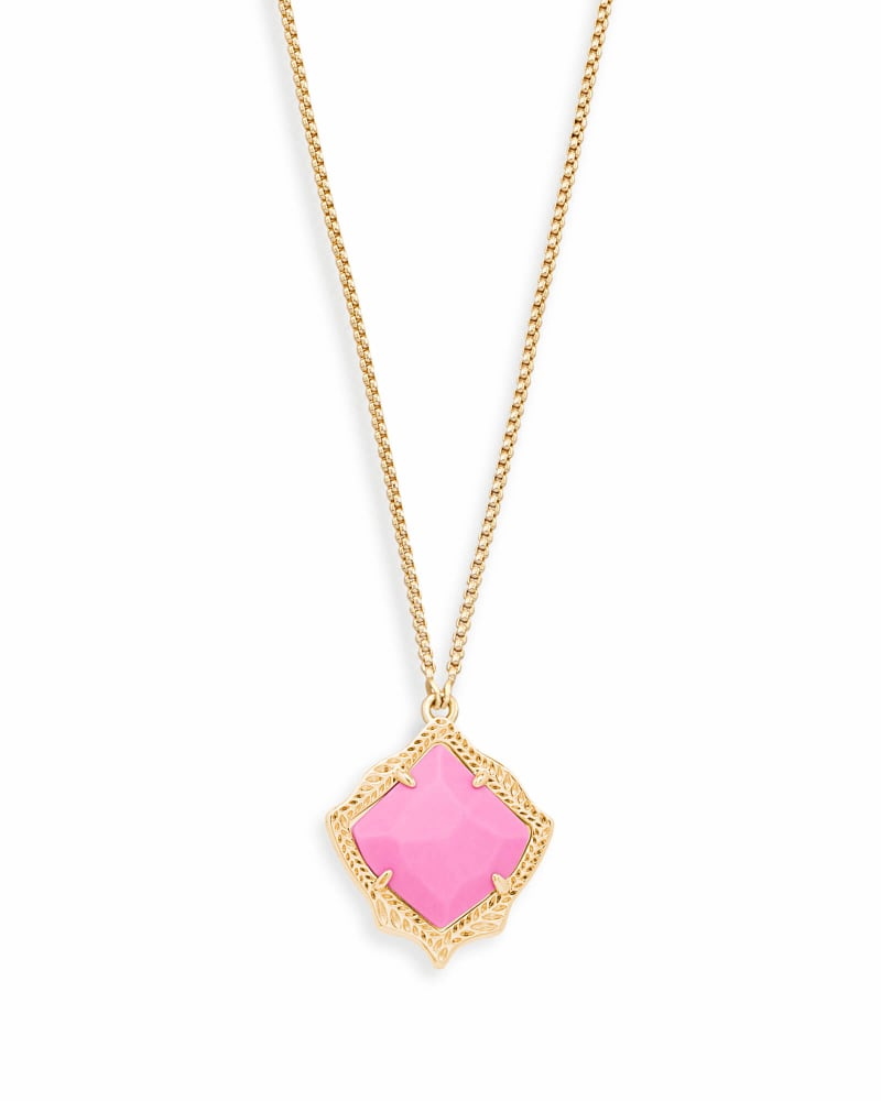 Kacey Long Pendant Necklace in Magenta