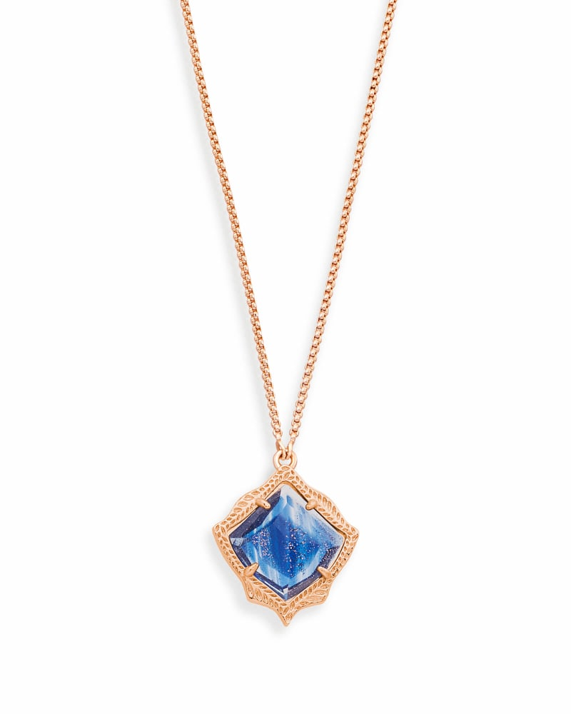 Kacey Long Pendant Necklace in Navy Dusted Glass