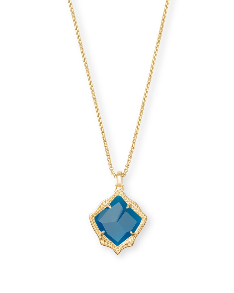 Kacey Gold Pendant Necklace in Teal Agate