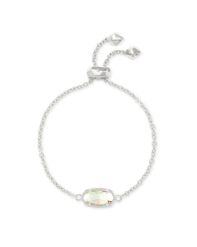 Elaina Silver Adjustable Chain Bracelet in Dichroic Glass