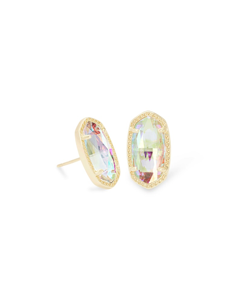 Ellie Gold Stud Earrings in Dichroic Glass