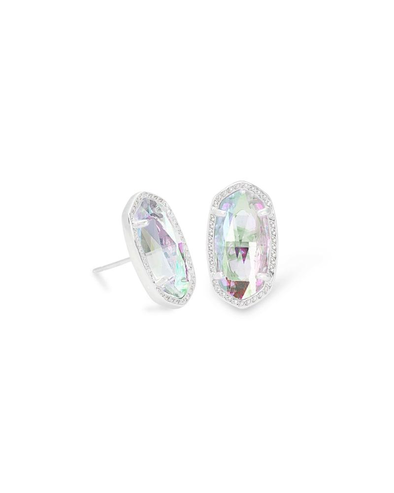 Ellie Silver Stud Earrings in Dichroic Glass