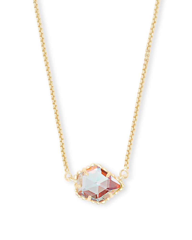 Tess Gold Pendant Necklace in Dichroic Glass