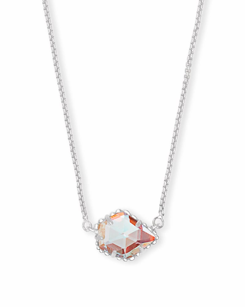 Tess Silver Pendant Necklace in Dichroic Glass