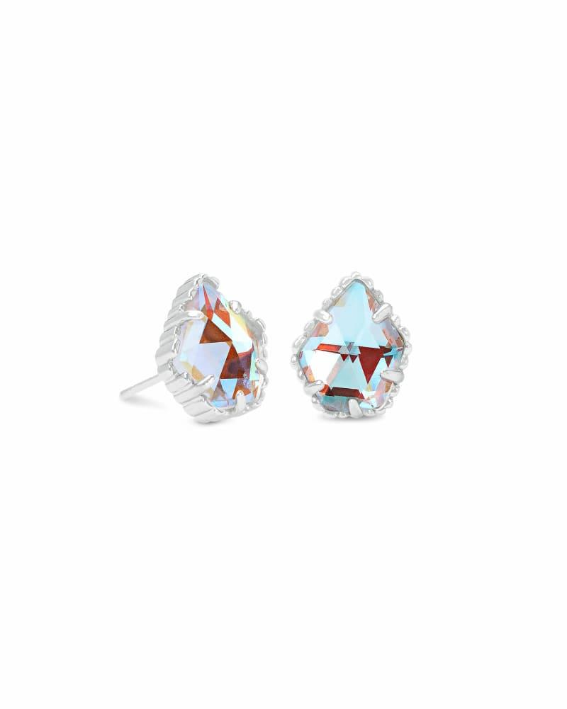 Tessa Silver Stud Earrings in Dichroic Glass