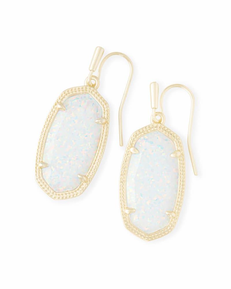 Dani Gold Drop Earrings in White Kyocera Opal