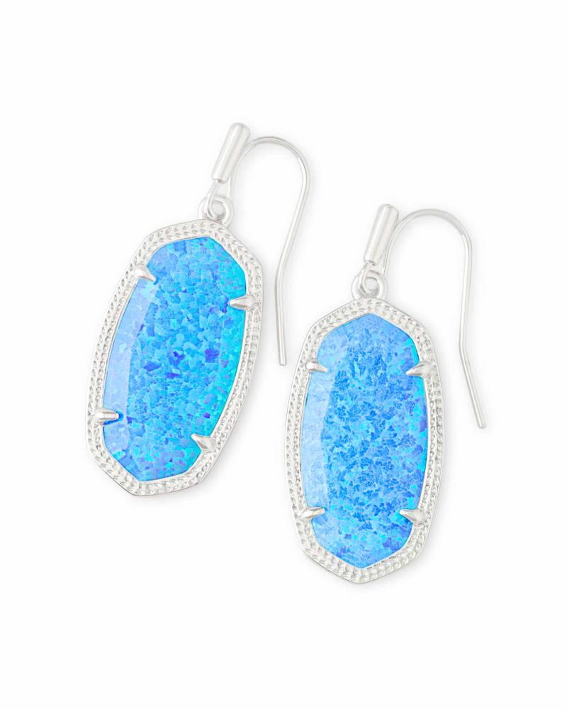 Dani Silver Drop Earrings in Ocean Kyocera Opal