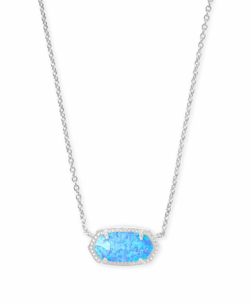 Elisa Silver Pendant Necklace in Ocean Kyocera Opal