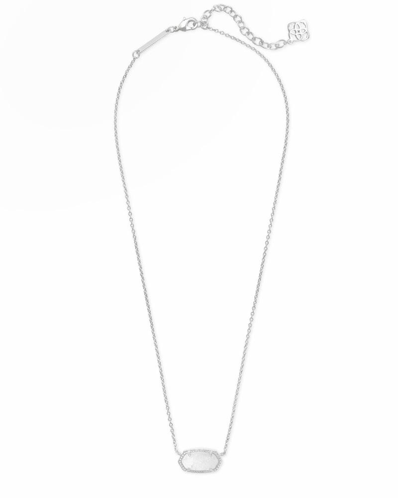 Elisa Silver Pendant Necklace in White Kyocera Opal