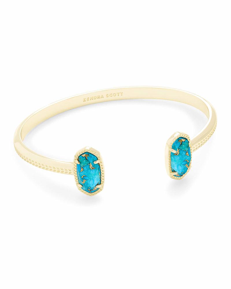Elton Gold Cuff Bracelet in Bronze Veined Turquoise Magnesite