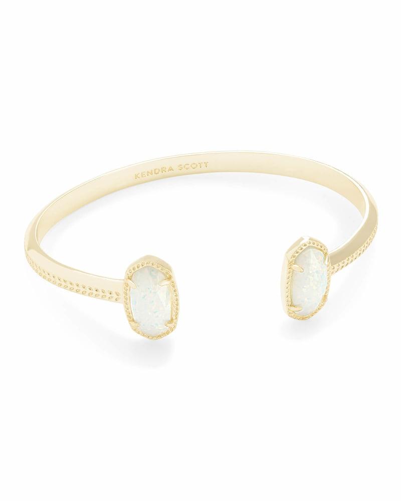 Elton Gold Cuff Bracelet in White Kyocera Opal