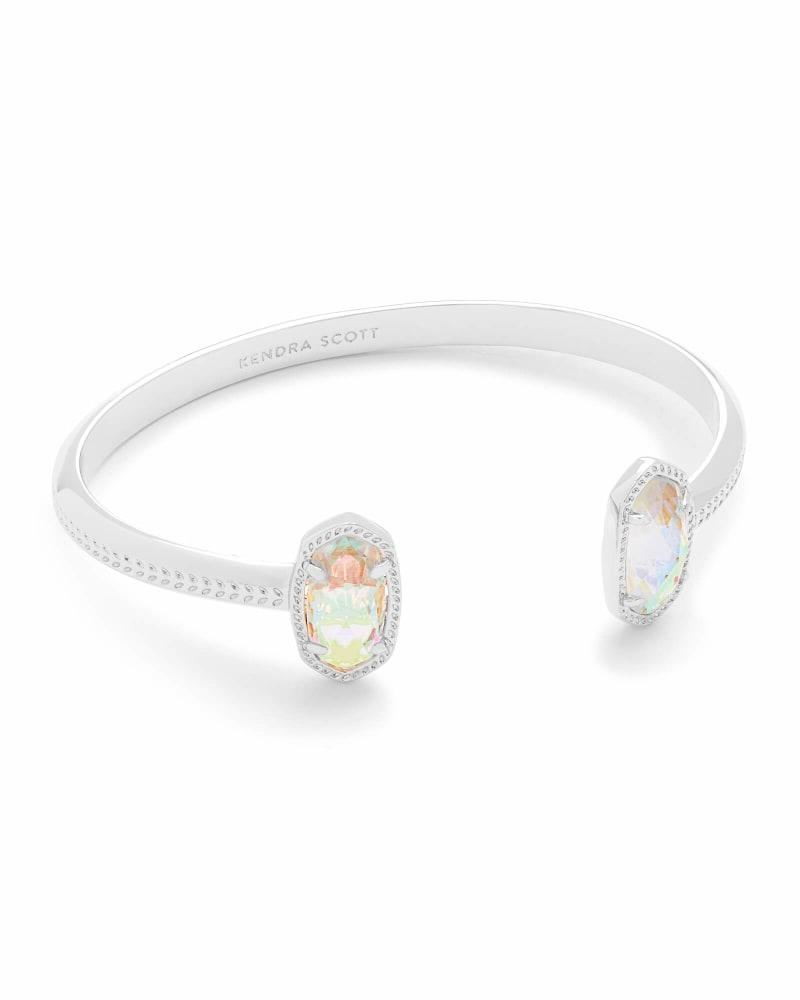 Elton Silver Cuff Bracelet in Dichroic Glass