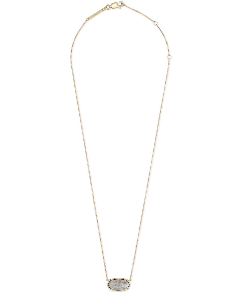 Elisa 18k Gold Vermeil Pendant Necklace in Gray Labradorite