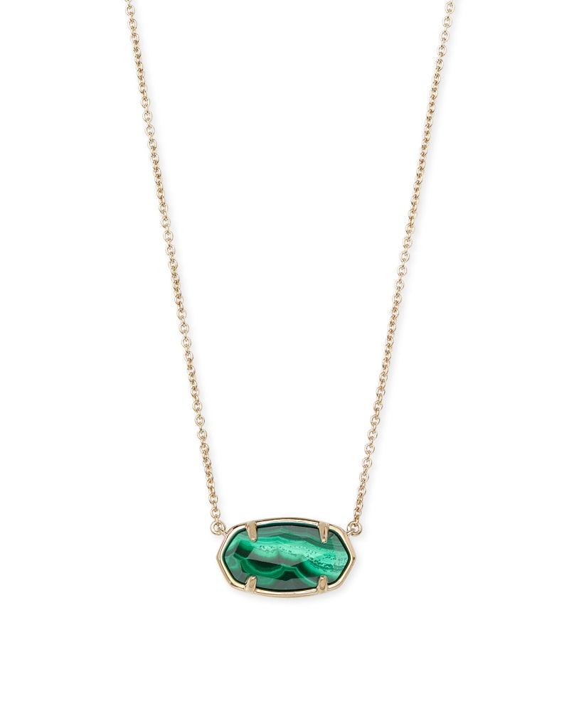 Elisa 18k Gold Vermeil Pendant Necklace in Malachite