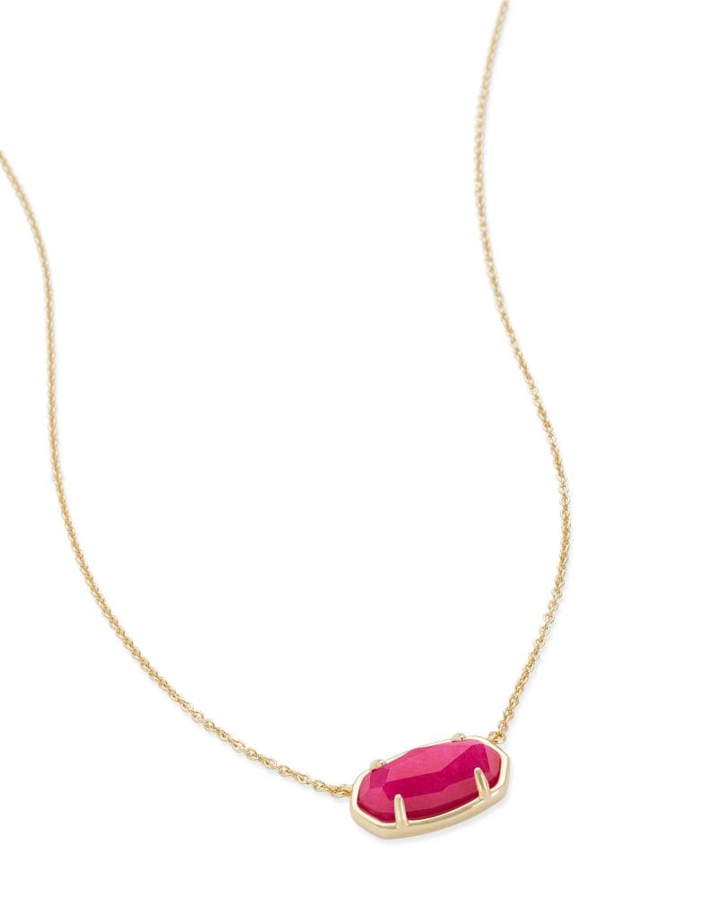 Elisa 18k Gold Vermeil Pendant Necklace in Pink Quartzite